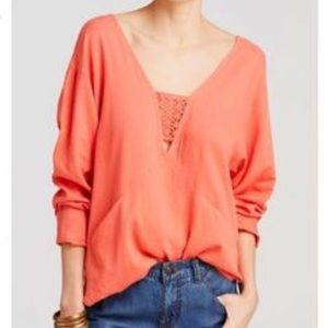 Free People coral top boho oversized